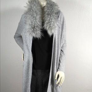 Forever 21 Faux Fur Collar Long Cardigan
